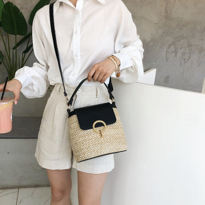 Handmade Straw Bucket Bag