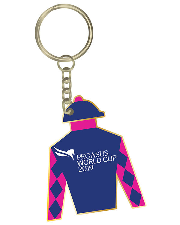 2019 Pegasus World Cup Silks Keychain, Gold Metal