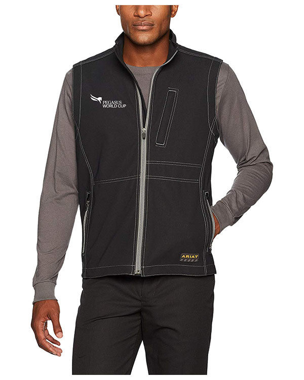 2019 Pegasus World Cup Ariat Men's Rebar Canvas, Black Softshell Vest
