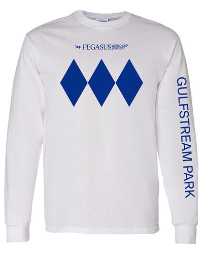 2019 Pegasus World Cup Diamonds Logo Long Sleeve T-Shirt White
