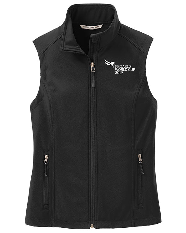 2019 Pegasus World Cup Ladies' Core Soft Shell Vest, Black