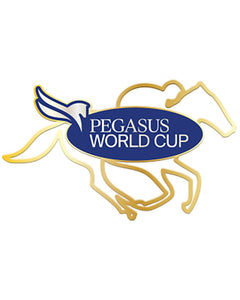 2019 Pegasus World Cup Wired Horse Lapel Pin, Gold Metal