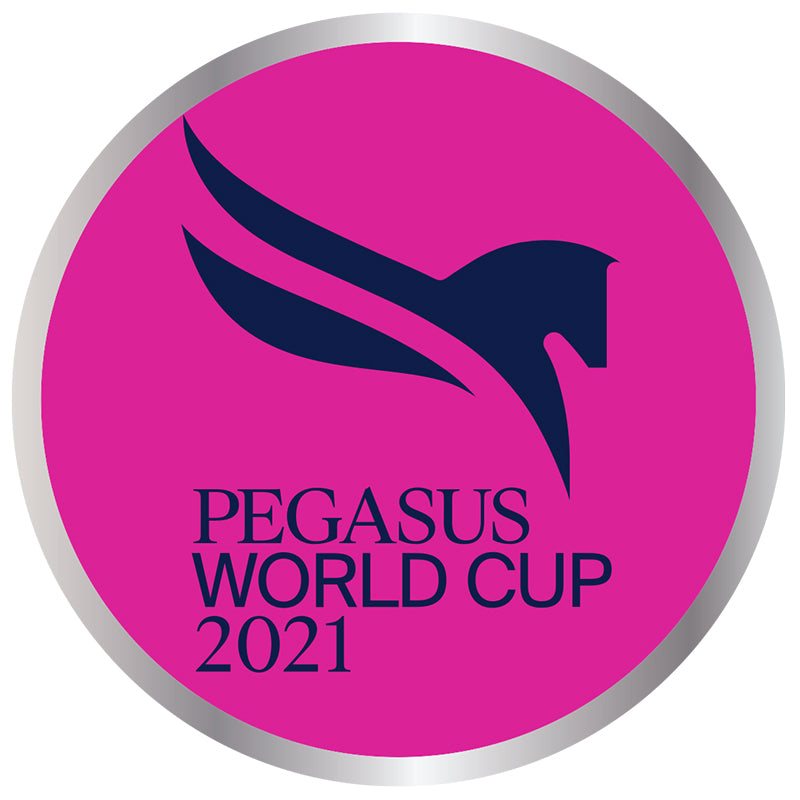 2021 Pegasus World Cup Silver Metal Circle Lapel Pin