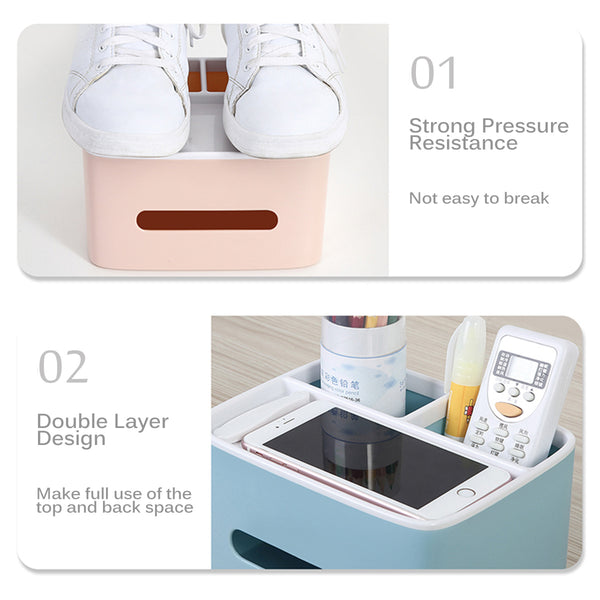 Tissue Box Desk Storage Organizer