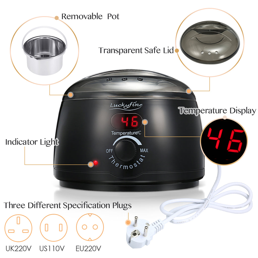 Luckyfine Professional Electric Wax Warmer With 4 * 100 g Wax Bean, 10* Stir Bar and 5* Anti-staining Ring-3