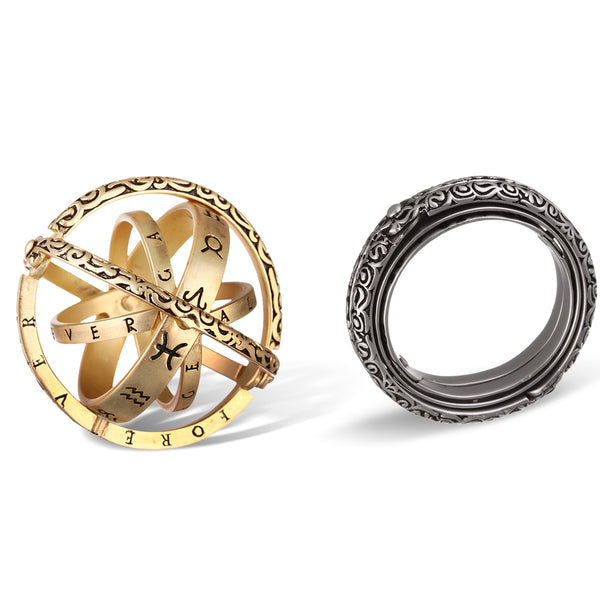 Astronomical Copper Vintage Armillary Sphere Foldable Zodiac Ring, gold and silver color