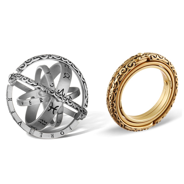 Astronomical Sterling Silver Vintage Armillary Sphere Foldable Zodiac Ring, silver and gold color
