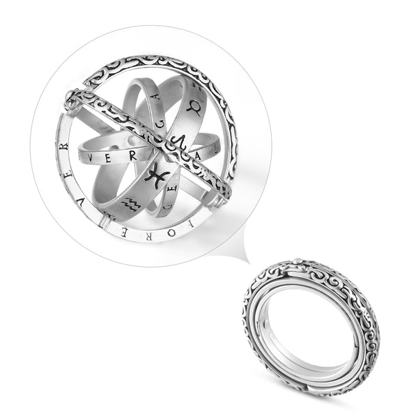 Astronomical Sterling Silver Vintage Armillary Sphere Foldable Zodiac Ring