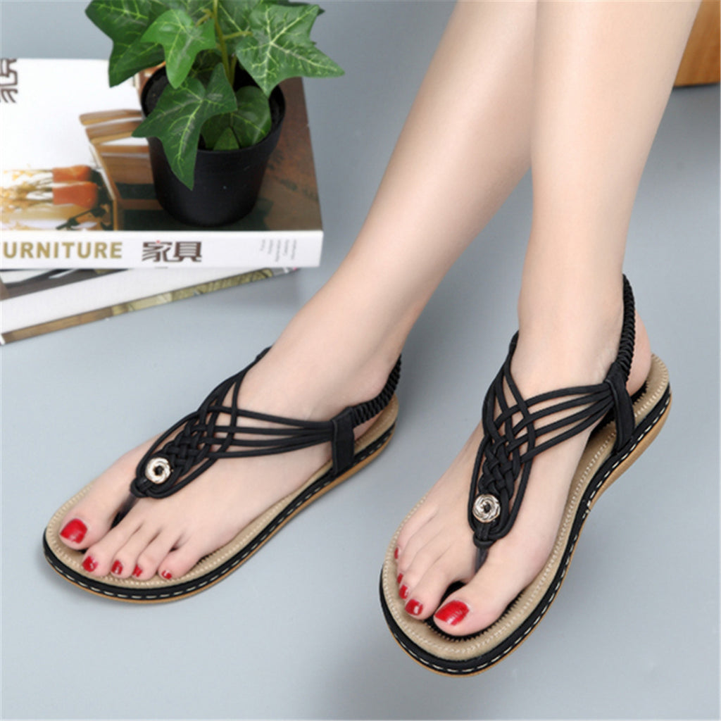 Flat Sandals Flip Flops Thongs Clip Toe Slip On Elastic T-Strap-3