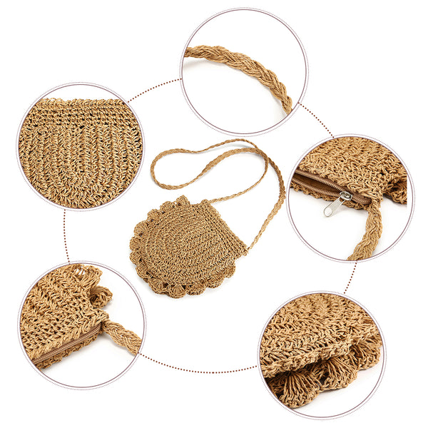 Lace Straw Crossbody Bag
