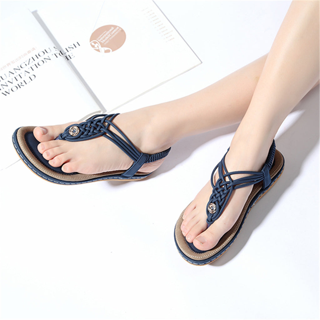 Flat Sandals Flip Flops Thongs Clip Toe Slip On Elastic T-Strap-5
