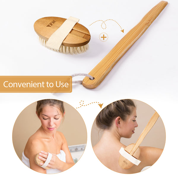 Detachable Body Brush, Massager & Facial Brush 7PCS Dry Brushing Set for Dry Brushing by 100% Natural Boar Bristles