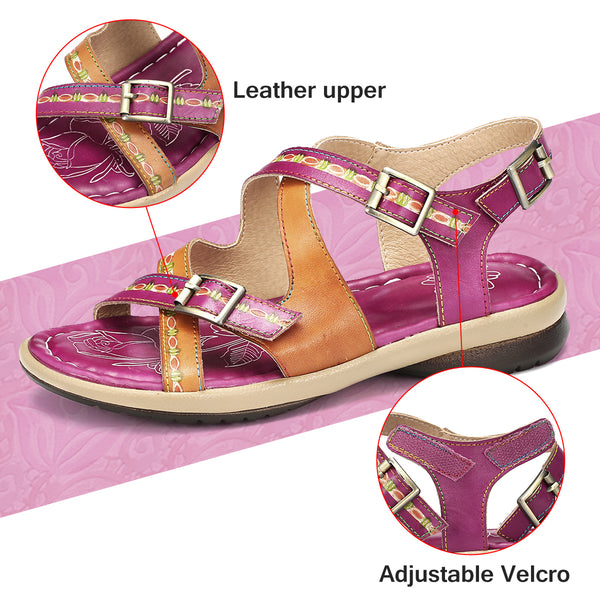 Gracosy Women Summer Ethnic Style Handmade Leather Sandals, Cross Strap Hook Loop Slingback Flat Sandals Shoes