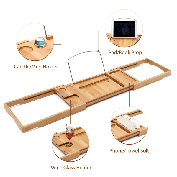 Adjustable Bamboo Bathtub Rack