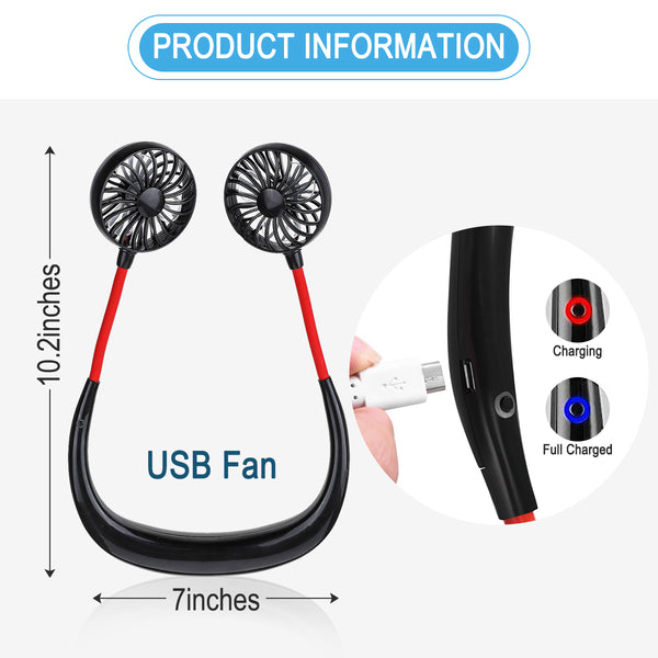 Hand Free Wearable Neckband  Mini Fan USB Portable Fan, 3 Speeds for Office Home Sport