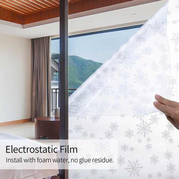 Snowflake No Glue Window Decorative Film Privacy Protection Film, Static Cling PVC Vinyl Film