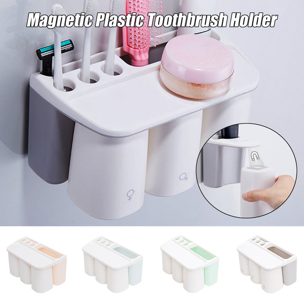 Magnetic Plastic Toothbrush Holder Toothpaste Holder Bathroom Storage Rack Shelf With 1/3 Cups