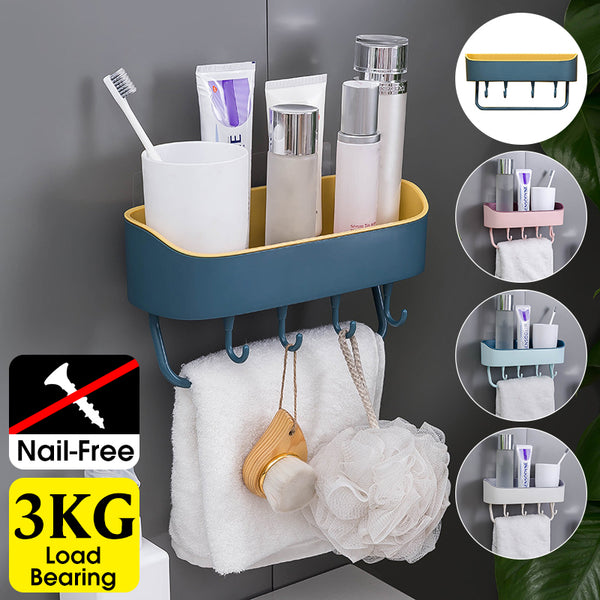No Drilling Plastic Towel Rack Lotion Storage Holder for Bathroom & Kitchen with 4 Hooks