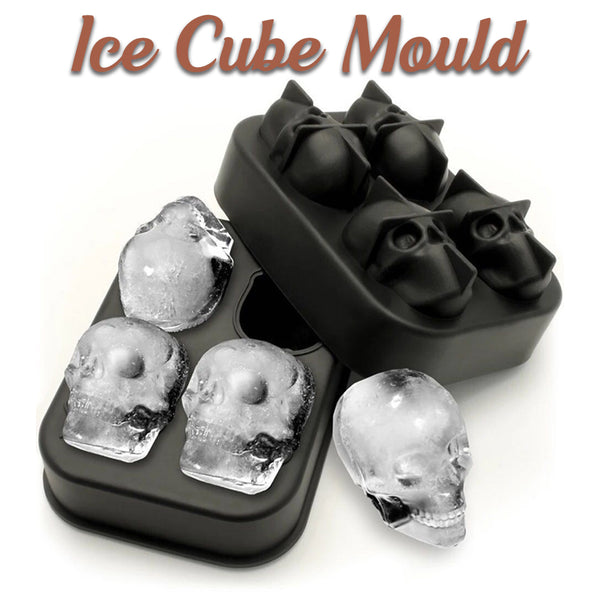 3D Food-Grade Silicone Skull Ice Cube Mold Tray, 4 Full Skull Ice Cube Maker for Halloween, Costume Party