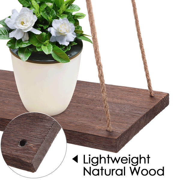 Vintage Rustic Wall Floating Shelf Swing Rope Hanging Wood Shelves    Decor for Home/Garden