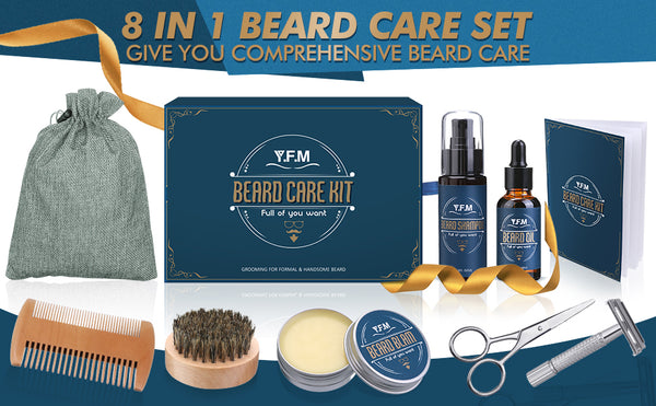8 In 1 Beard Care Kit, Beard Shampoo, Beard Oil & Beard Balm, Ideal for Father's Day Gift
