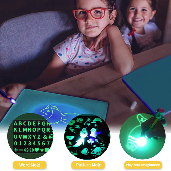 Kid Light Drawing Pad Luminescent Board Glow in Dark Painting Developing Educational Toy (A4)