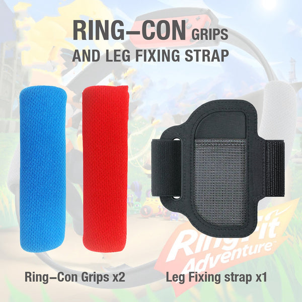 Anti-Slip Ring-Con Grips & Adjustable Leg Fixing Strap Set Kit For N-Switch Adventure