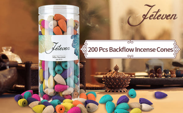 200PCS 6 Kinds Aroma Backflow Incense Cones for Spa Relax