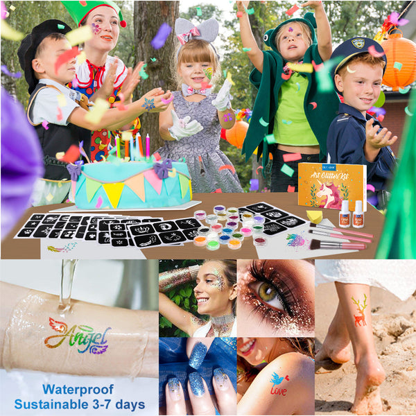 Glitter Temporary Tattoo Set  for Kid & Adults Body Nail Glitter Art Paint Party