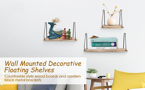 Wall Mounted Floating Shelves, Set of 3 Wood Rustic Wall Storage Shelves, Max Load 10LB for Home Decor