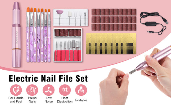 USB Portable Electric Nail Drill Kit with 11PCS Nail Drill Bits, Professional Manicure Pedicure Nail Set, Exfoliating Grinding Polishing Tools