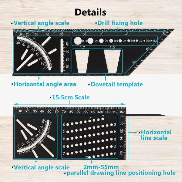 3D Mitre Angle Aluminum Alloy Ruler, Multifunction Woodworking Measure Stencil Protractor Professional Set
