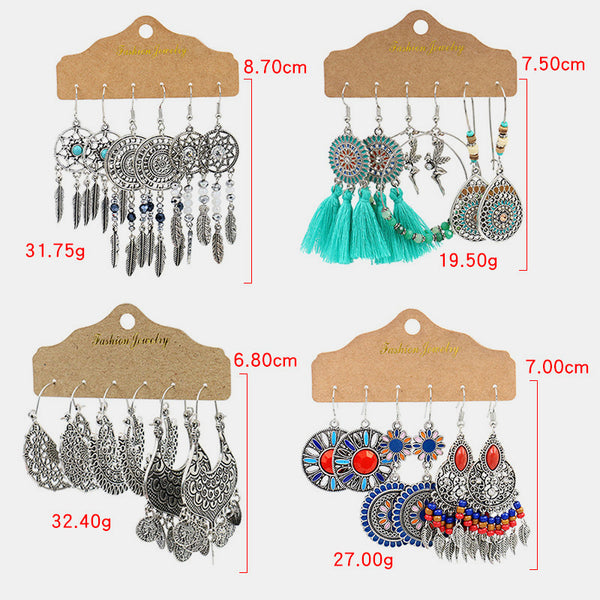 3 Pairs Bohemian Peacock Feather Tassel Earrings Set Vintage Ethnic Hollow Turquoise Water Drop Earrings
