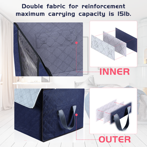 4PCS Clothes Storage Bags 2 Size Closet Organizer w/ 3 Layers Fabric Reinforced Handle