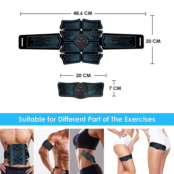 Muscle Stimulator Trainer Extended Version 8 Pads EMS Arm & Leg Muscle Training Gear Body Building Fitness Kit