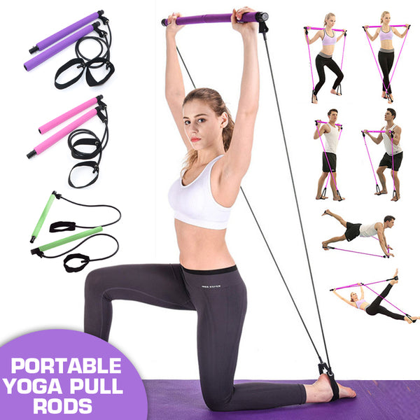 Multi-functional Yoga Rods Gym Pilates Bar with Resistance Band for Chest-expanding Fitness Workout