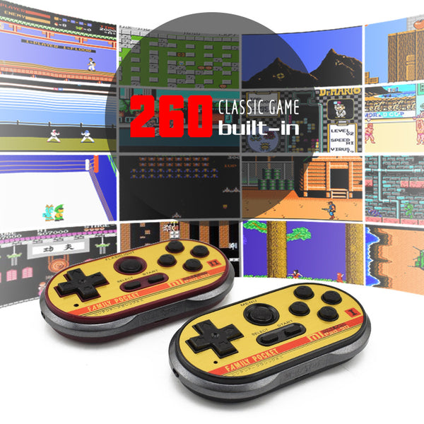 FC 8 Bit Mini Game Handles Controllers for TV & PC, Built-in 260 Classic Games for 2 Players