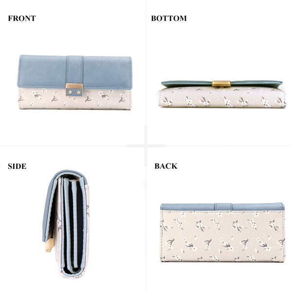 Women PU Leather Long Wallet Purse Trifold Ladies Card Holder Flowers Clutch Purse
