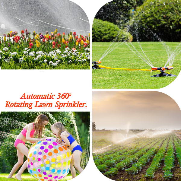 Garden Lawn Yard Sprinkler w/ Butterfly Rotary Automatic 360 Rotating, w/ 6 PCS Sprinkler Accessories