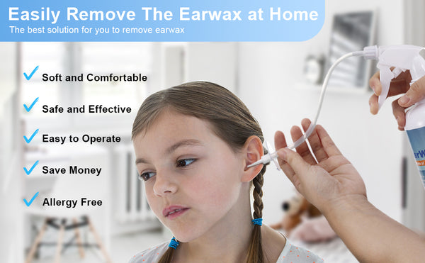 Earwax Remover Tool Kit for Sensitive Ears, w/ Irrigation Bottle/Wash Basin/Bulb Syringe/5 Disposable Tips/Brush