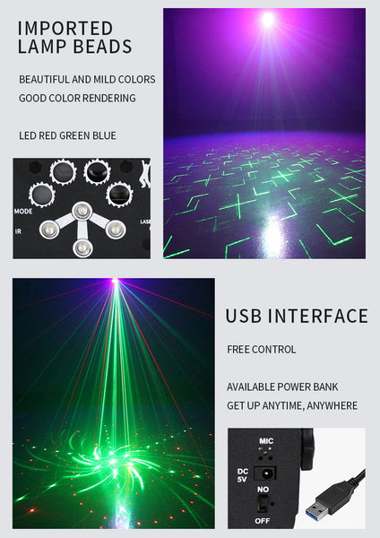 8-holes Mini Laser Light Sound Control Stage USB Charge UV Light Halloween Party Projection Lamp