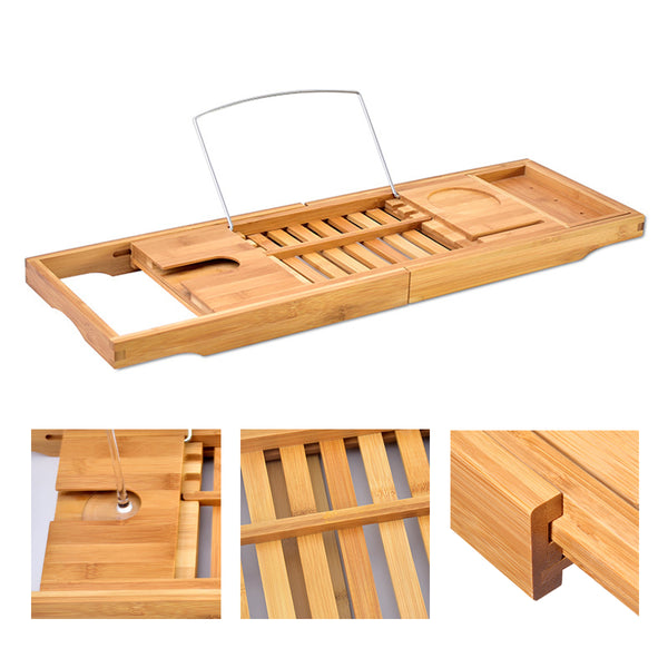 Adjustable Bamboo Bathtub Rack, Expandable Detachable Bathtub Tray For Home Spa
