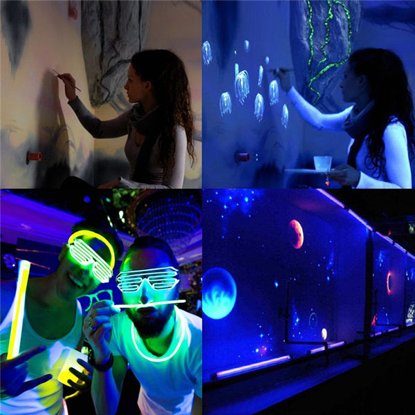 UV Blacklight Tube Glow in The Dark for Halloween/Party/Stage Lighting/Fluorescent/Body Paint, US Plug