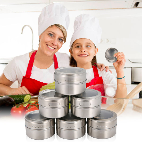 12PCS Stainless Steel Magnetic Spice Tins Set