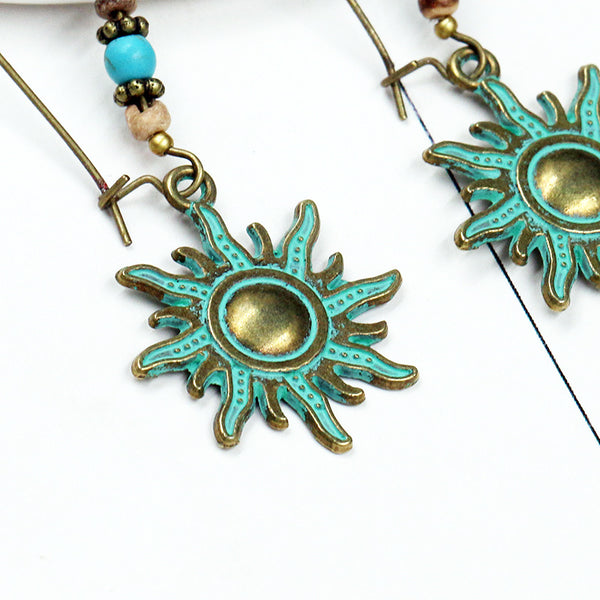 Boho-Chic Türkis Bronze Sun Drop Ohrringe