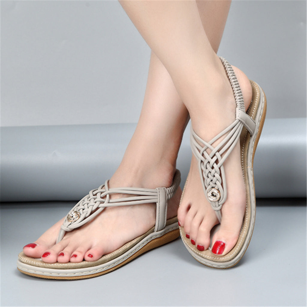 Flat Sandals Flip Flops Thongs Clip Toe Slip On Elastic T-Strap-8