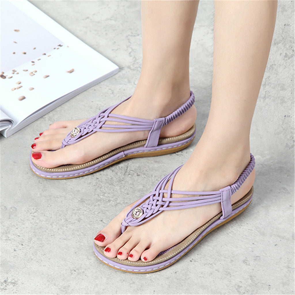 Flat Sandals Flip Flops Thongs Clip Toe Slip On Elastic T-Strap-10