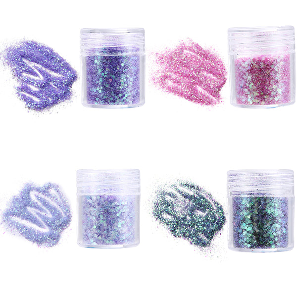 4 Colors Eye Shadow, Face & Nail Glitter Set