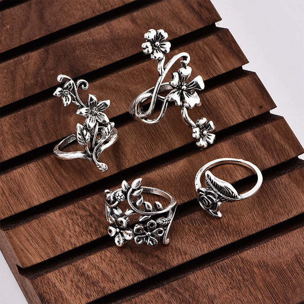 4PCS Vintage Bohemian Style Flower Finger Rings Joint Rings Set