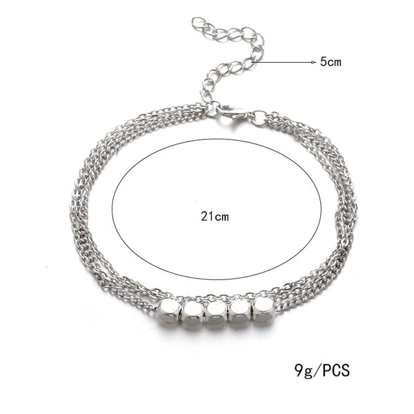 Vintage Multilayer Cubic Silver Plated Anklet